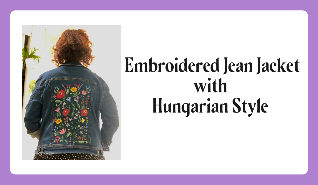 Hungarian Folk Art Painted Jean Jacket